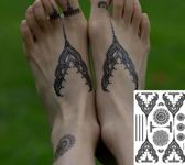 Plak Tattoos - Zwarte Henna Tattoo - Body Glitter - Tijdelijke Tatoeage - Festival Tattoe - Zomer feest tatoeage's - Festival Tattoo - Neptattoo- 1 vel Black Flowers