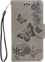 Mobigear Vlinder Bookcase Hoesje Grijs Motorola Moto G5 Plus