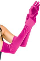 Leg Avenue Extra lange satijnachtige fuchsia handschoenen - Model 16B One size