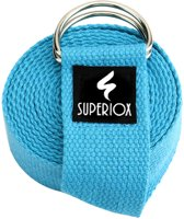 Yoga Strap - Premium Yoga Riem - 100% Katoen - Blauw Yogariem - 183cm - Superiox™