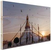 FotoCadeau.nl - Monument Nepal Hout 120x80 cm - Foto print op Hout (Wanddecoratie)