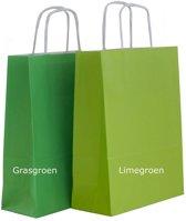 50x Papieren tassen 25x11x32cm met gedraaid handvat  lime groen