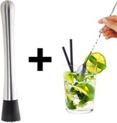 Cocktail stamper + Mix lepel - Bar set van Recette Parfait - Drankset - Tonic stamper - Mojito maker - muddler - 30cm spoon - barman accessoires - Premium Cocktail Lepel - Voor de lekkerste cocktails! - RVS - gedraaide steel - barlepel - Latte macchi