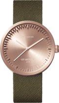 LEFF amsterdam - Horloge - Tube Watch D38 - Rosé met Groen Cordura (textiel) band - Ø 38mm - LT71034