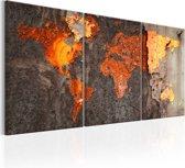 Schilderij -Wereldkaart , Roestige Kaart , 3 luik