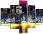 Glasschilderij Steden | Blauw, Geel, Zwart | 100x70cm 5Luik | Foto print op Glas |  F003415