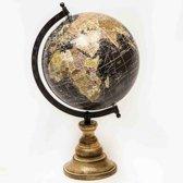 Wereldbol op Voet 20cm Zwart