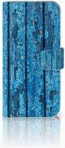 Samsung Galaxy A40 Book Style Case Blauw Wood
