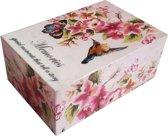Geheugen Doos Vogel Bloemen Roze