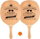 Beachball Beach Tennis Strandtennis Peddelbal Set - Houten Grip - 2 Bats & 2 Balletjes - Blank/Zwart/Oranje
