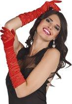 Lange rode satijnen handschoenen voor vrouwen - Verkleedattribuut