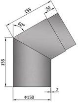 TT Kachelpijp Ø150 bocht 60º grijs - grijs- staal - 2mm - bocht - Ø150mm