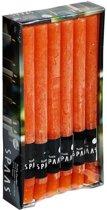 12x Oranje rustieke rechte dinerkaarsen 25 cm 10 branduren - Geurloze kaarsen - Huishoudkaarsen/tafelkaarsen/kandelaarkaarsen