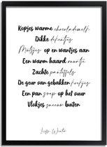 DesignClaud Liefs Winter - Tekst poster - Zwart wit A4 + Fotolijst zwart