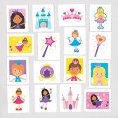Tijdelijke tattoos van sprookjesprinses voor kinderen – leuk voor uitdeelzakjes voor kinderen (verpakking van 24)