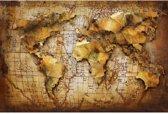 Schilderij Metaal 3D Wereldkaart. World Map