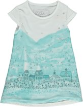 Losan meisjesskleding -witte jurk met opdruk van huisjes P45 -maat 92