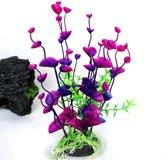Aquariumdecoratie Plant op steen - groen/paars/roze - 20 cm