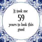 Bol Com Verjaardag Tegeltje Met Spreuk 59 Jaar Happy Birthday