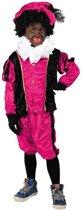Witbaard - Kostuum - Zwarte piet - Velours - Roze/zwart - mt.116