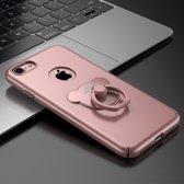 Let op type!! AIQAA voor iPhone 8 & 7 effen kleur metaal verf Plastic PC Dropproof beschermhoes met dragen Ring Holder(Rose Gold)