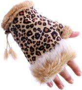 Vingerloze panterprint handschoenen luipaardprint met bont - vingerloos bruin - harige dierenhandschoenen panter luipaard cheetah pluche fur konijnenbont carnaval