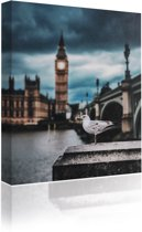 Sound Art - Canvas + Bluetooth Speaker Seagull And Big Ben (23 x 28cm)