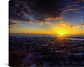 De zonsopgang van Durban in Zuid-Afrika Canvas 120x80 cm - Foto print op Canvas schilderij (Wanddecoratie woonkamer / slaapkamer)
