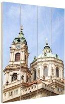 Sint Nicholas kerk Praag Hout 40x60 cm - Foto print op Hout (Wanddecoratie)