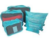 Packing Cubes Set - Koffer Organizer - 6 Stuks - Lichtblauw