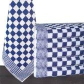 Homéé® Keukendoek blauw / wit geblokt - 50x50cm - set van 6 stuks - 100% katoenen badstof