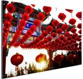 Lampionnen in Peking China Aluminium 180x120 cm - Foto print op Aluminium (metaal wanddecoratie) XXL / Groot formaat!