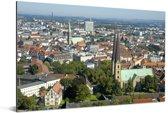 Uitzicht vanaf de Sparrenburg op Bielefeld in Duitsland Aluminium 90x60 cm - Foto print op Aluminium (metaal wanddecoratie)