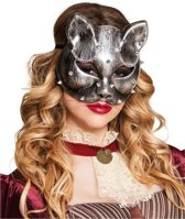 Zilverkleurige Steampunk kattenmasker voor volwassenen - Verkleedmasker