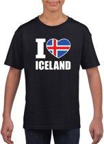 Zwart I love Ijsland supporter shirt kinderen - Ijslands shirt jongens en meisjes XL (158-164)