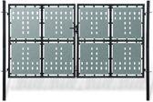 vidaXL Tuinpoort dubbele deur zwart 300 x 250 cm