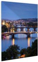 De vele bruggen van Praag Glas 120x180 cm / XXL / Grote Poster - Wanddecoratie cm - Foto print op Glas (Plexiglas wanddecoratie) / Steden Poster