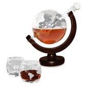 MikaMax- Whiskey Globe Decanter Deluxe- Incl. 2 whiskey glazen- Houten standaard- Luxe verpakking