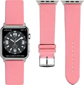 Rose Lederen Apple horlogeband (42mm) zilveren adapter