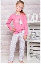 Kinderpyjama Oda1166 roze met ijsbeer opdruk en bedrukte broek - 104