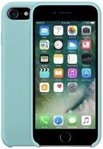 Luxe siliconen hoesje - turquoise - voor Apple iPhone 7 en iPhone 8 - suède binnenkant