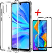 Huawei P30 Lite Hoesje + Screenprotector Full Screen - Transparant Shockproof Case - iCall