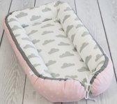 Babynestje Wolkjes Wit/Grijs/Roze Betulli