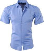 Pradz - Heren Korte Mouw Overhemd met Trendy Design - Slim Fit - Navy