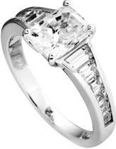 Diamonfire - Zilveren ring met steen Maat 19.5 - Solitaire met baguette bezette band