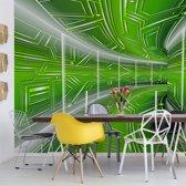 Fotobehang Modern 3D Tech Tunnel Green   VEXXL - 312cm x 219cm   130gr/m2 Vlies