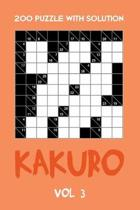 200 Puzzle With Solution Kakuro Vol 3: Cross Sums Puzzle Book, hard,10x10, 2 puzzles per page