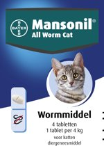 Mansonil All Worm Cat Ontworming - Kat - 4 tabletten
