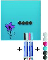 DESQ magnetisch glasbord Starterset 35x35 cm Aqua Blauw