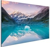 FotoCadeau.nl - Mount Cook bij zonsondergang  Aluminium 30x20 cm - Foto print op Aluminium (metaal wanddecoratie)
